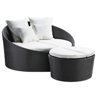 Osier de salon de meubles de patio de jardin/Daybed extérieurs de rotin