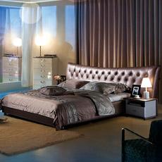 Lit moderne de luxe en cuir véritable 626#