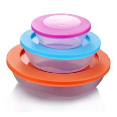 Envase Plástico Colorido de Alimento de 3 Piezas
