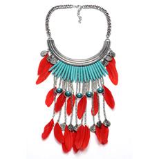 Collar de múltiples capas de la borla del estilo del metal de la turquesa retra de la pluma para las mujeres