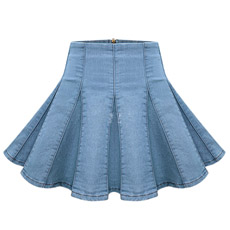 Jean Pleated Ladies Mini Skirt (JC2044)