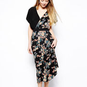 Florales Vintage cruzan la moda vestido de mujer (JK012)