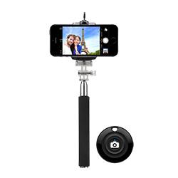 1145mm de aluminio de bolsillo extensible Selfie Bluetooth Stick con soporte para trípode