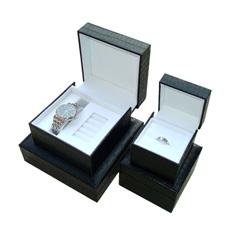 Cuero PU Ver Caja de regalo / Negro joyas embalaje