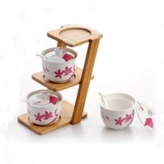Soporte de bambú de forma Escalera condimento picante conjunto Jarra de cerámica bote