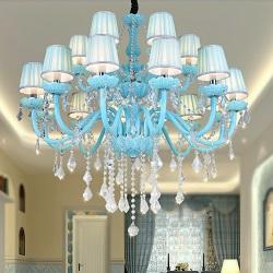 15W Большой Роскошный Отель Освещение 2000K-6500K (Теплый Белый/Холодный Белый) WiFi Smart LED Хрустальные Люстры Подвесные Светильники