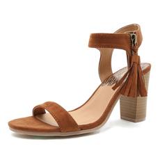 Lucite велюр коричневого цвета со шнуровкой Block-Heel женщин