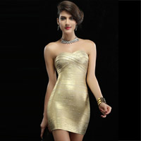 White Strappy Beading Cocktail Party Prom Evening Dress