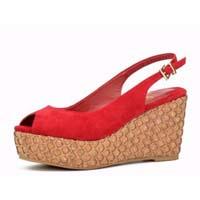 Замшевая отделка гладка кожаную обувь женщины лазерный Корк высокие каблуки босоножки платформы