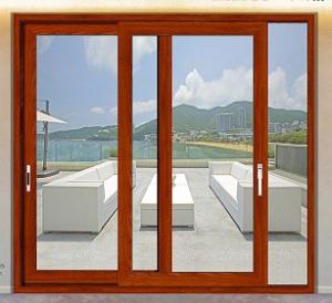 Acabamento em madeira de cerejeira Interior moda porta corrediça de alumínio para varanda