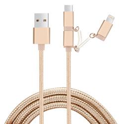 2.1A 3-en-1 Trenzado Nylon USB cable de datos del teléfono móvil