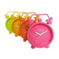 El color fluorescente irrompible Twin Bell silencio Snooze Mini Mesa de silicona relojes despertadores