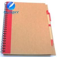 Notebook espiral promocional com balcão, notebook reciclado com bola