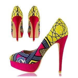 Новый запад - африканские напечатанные ботинки высокой пятки способа тканей (HCY02-1354)