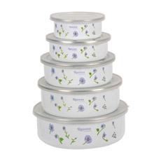 Белой эмали чаши для хранения, PP крышка с синим цветочным табличку (С)-1507