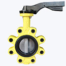 Yellow Coloured Lug Type Handle Butterfly Valve