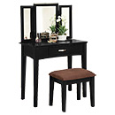 Black Mirrored Dressing Table with Drawers