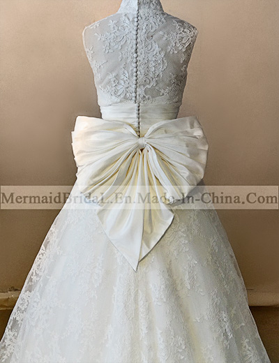 A Line Ivory Applique Lace Wedding Dresses With Bow View China Wedding Dresses Manufacturers