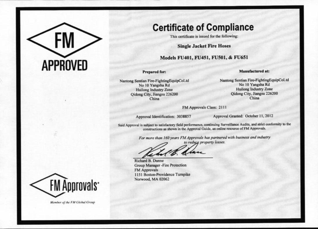 fm certificate approval fire oct china