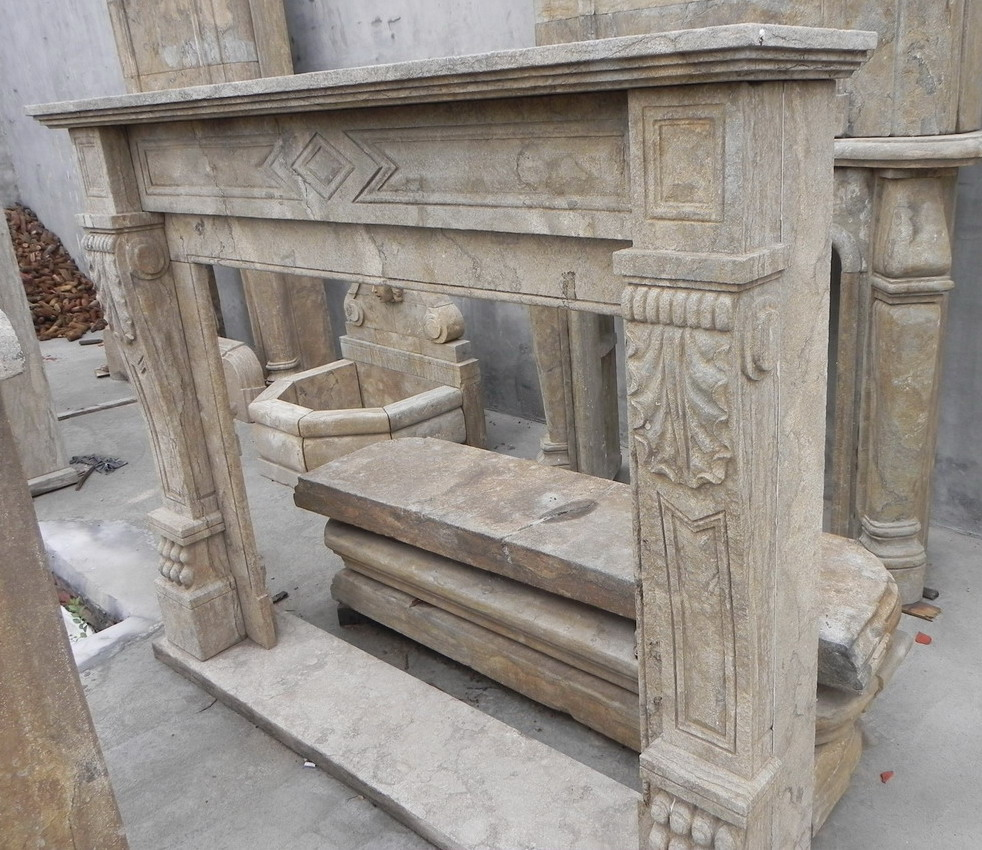 antique stone fireplace mantels living room los angeles by ...