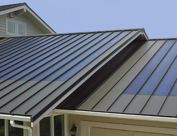 Thin film flexible solar panel install on metal roof for Flexible roofing material