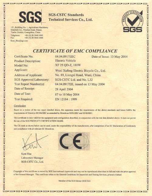 certificate electric eec bike