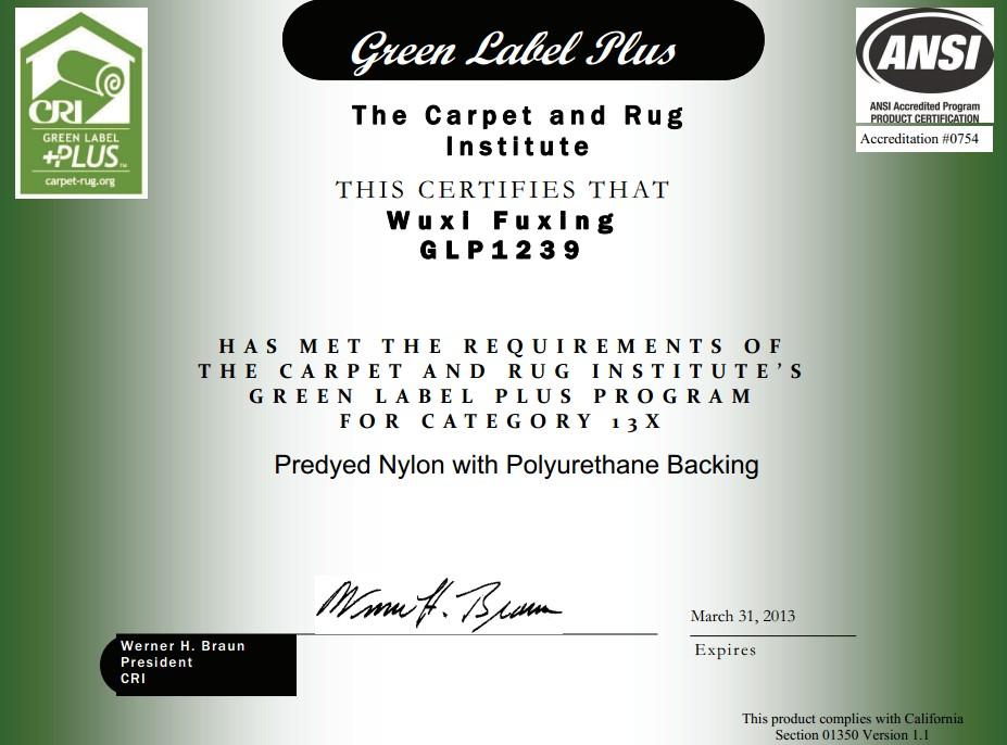 Cri carpet floor matttroy for Green label carpet