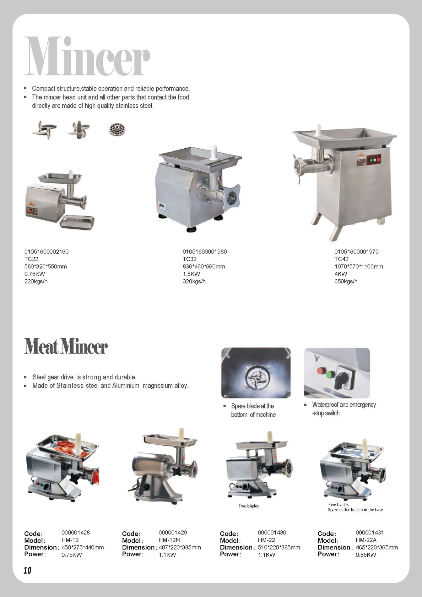 Meat grinder p10 guangzhou nantian sources co ltd for Kitchen equipment list