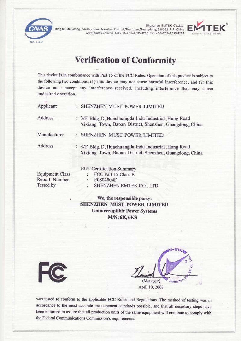 fcc certificate ups 6kva must applied ce