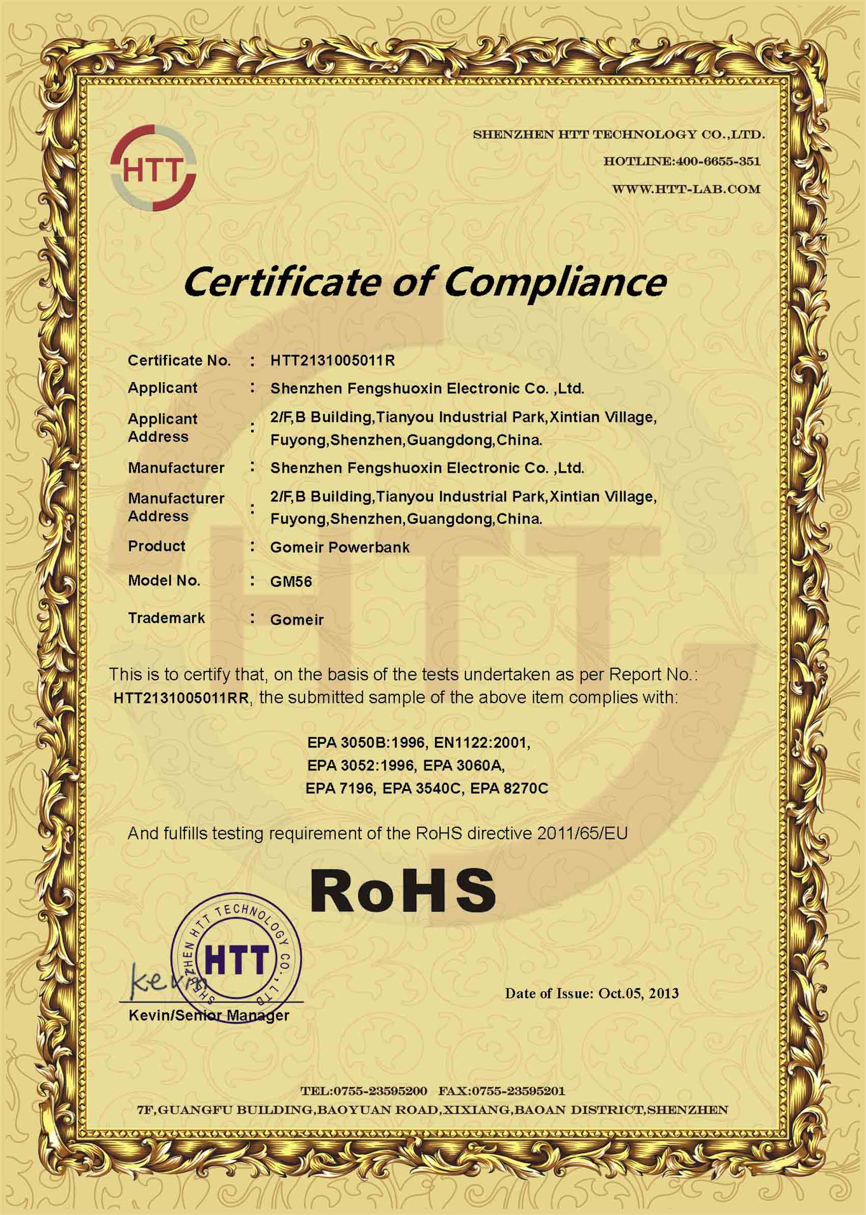 Rohs compliance certificate sample images for Rohs certificate of compliance template