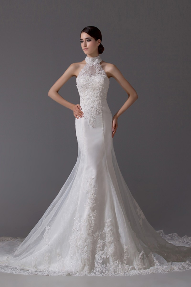 High neck long train mermaid wedding dress suzhou for High collar wedding dress