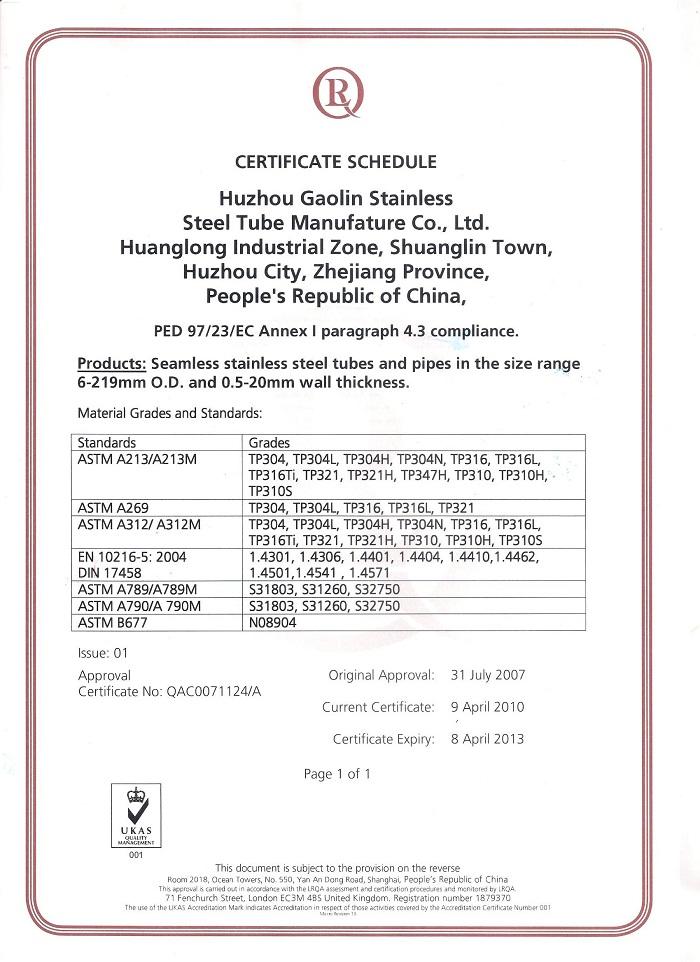 Certificates Huzhou Gaolin Stainless Steel Tube
