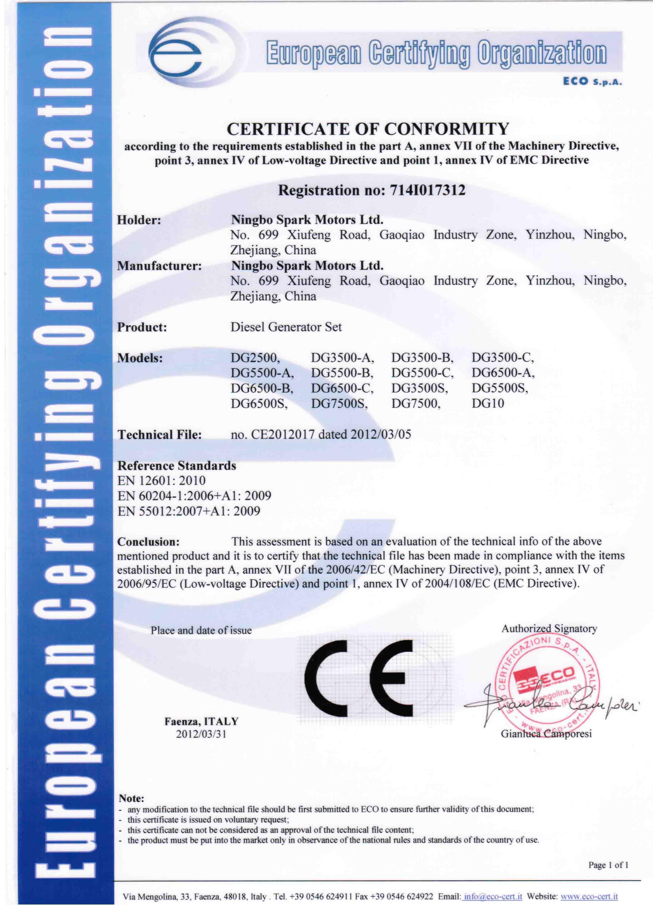 certificate ce generator diesel ningbo china certificates