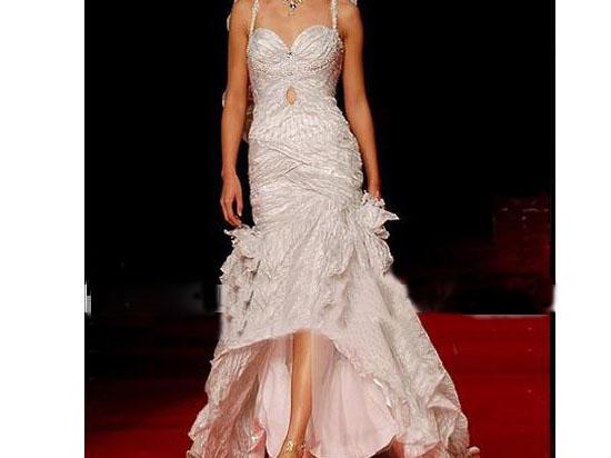 mermaid wedding dresses with straps. Neck: Spaghetti Straps