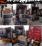 loading container of speakers and amplifiers