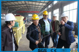 Customer come to visit double shaft shredder for tire/wood pallet/foam/scrap metal