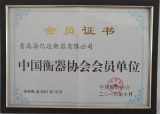 China Weighing Association Certificate