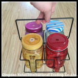 set colored glass mason jar with metal lid