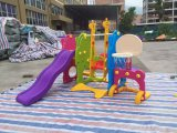 children plastic slide with swing and basket hoop on sell
