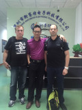 our manager with our clients in our factory
