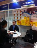 Our boss chatting with customer in Fair