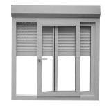 Aluminium monoblock sliding window with roller shutter and mosquito screen
