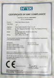 CERTIFICATE OF EMC COMPLIANCE