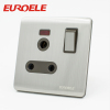 Stainless steel 15A switched socket with light