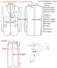 Men Grom Suits Tailcoat Measure Guide Chart